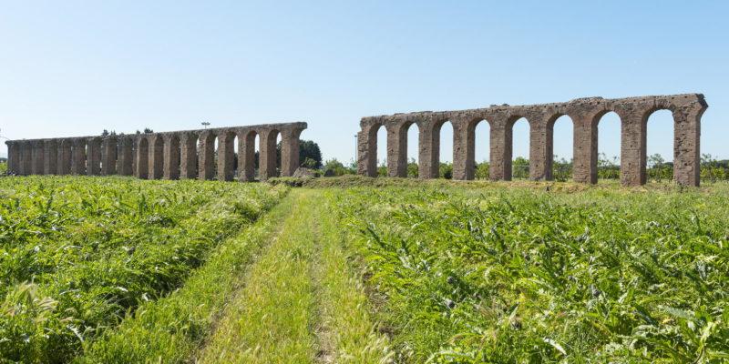 L'Acquedotto dei Quintili visto dagli antistanti campi coltivati.