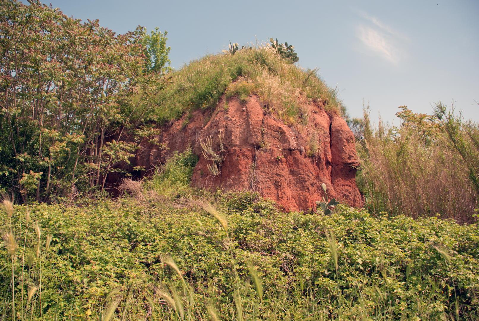 Antico fronte di cava nella tenuta di Tor Marancia.