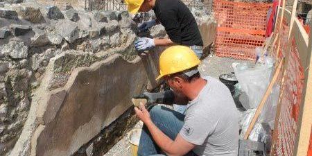 Lavori di restauro in corso a Villa dei Quintili